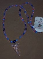 Click to see a larger picture of DS181 - Pink, Blue, Purple Glass Beaded Pink Glass Arrowhead Necklace