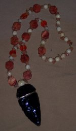 Click to see a larger picture of DS184 - Coral, Ceramic, and Glass Beaded Percussion Biface Necklace