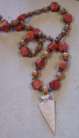 Click to see a larger picture of DS301 - Coral and Agate Beaded Bone Arrowhead Necklace