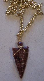 Click to see a larger picture of DS304 - Mahogany Obsidian Arrowhead Gold Chain Necklace