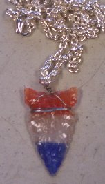 Click to see a larger picture of DS305 - Red-White-Blue Fiber Optic Glass Arrowhead Silver Chain Necklace