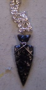 Click to see a larger picture of DS308 - Black Obsidian Arrowhead Silver Chain Necklace