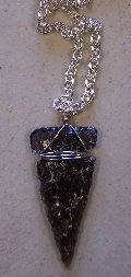 Click to see a larger picture of DS310 - Smoky Obsidian Arrowhead Silver Chain Necklace