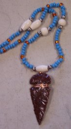 Click to see a larger picture of DS312 - Mahogany Obsidian Arrowhead Glass and Bone Beaded Necklace