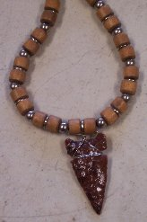 Click to see a larger picture of DS315 - Mahogany Obsidian Arrowhead Wood and Metal Beaded Necklace