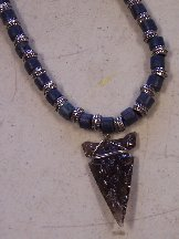 Click to see a larger picture of DS316 - Smoky Obsidian Arrowhead Blue Wood and Metal Beaded Necklace